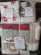 S5 Pottery Barn Kids Heritage Santa Quilt Sham Flannel Twin Sheet Christmas Red