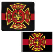 Wholesale Combo Fire Dept Thin Red Line 50x60 Fleece And 3and039x5and039 Polyester Flag