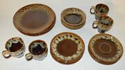 Vintage Canonsburg American Usa Pottery Brown Drip Place-setting For 4