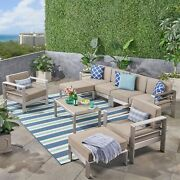 Emily Coral Outdoor Aluminum 6-seater Sectional Sofa Set With Ottomans And Coffe