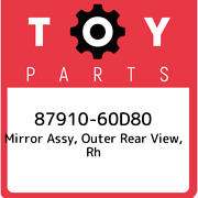 87910-60d80 Toyota Mirror Assy, Outer Rear View, Rh 8791060d80, New Genuine Oem