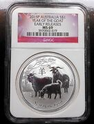 2015-p Australia Year Of The Goat Ngc Ms69 Free Shipping Gs5