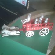 Vintage Cast Iron Horse Drawn Fire/patrol Wagon With Horses And Firemen..