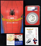 2017 Proof Spider-man Homecoming 5 Oz. Silver Coin Stan Lee Signed Coa