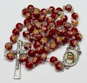 Murano Red Crystal Glass Rosary Murano Rosaries + Gift Holy Card