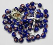 Murano Blue Crystal Glass Rosary Murano Rosaries + Gift Holy Card