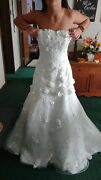 Wedding Dress With Veil Size 12 Brand New White Beaded Floral