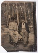Antique Vintage Two Men Couple - Bowler Derby Hats Tintype - Gay Lgbt Interest