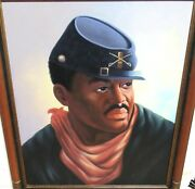 L.mason African American Civil War Soldier Original Oil On Canvas Painting