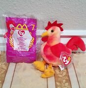 Rare Ty Beanie Baby W/errors - Strut Rooster And Mcdonald's Nib Strut