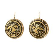 Vintage Mid-century Button Earrings With French Wires 14k
