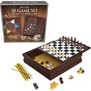 New Craftsman Deluxe Quality 10 Board Game Set Double Side Storage Birthday Gift
