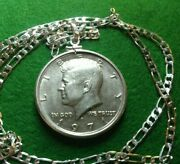 Uncirculated 1971 Kennedy Half Dollar Pendant On A 26 .925 Linked Silver Chain