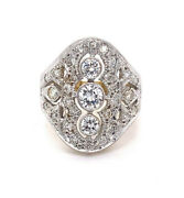Vintage 1970and039s Diamond Three Stone Marquise Style Ring 14k Tt Gold Sz6