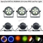 6pcs Ip65 6x7in1 Rgbwa Uv +lime Led Par Can Light With Ring Outdoor Show Lights