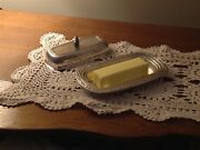 Vintage Oneida Silversmiths Silverplate Butter Dish With Lid