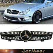Fit Benz 04-08 W219 Cls-sedan Shiny Black Mesh Dc Type Tuning Front Guard Grille