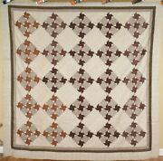Gorgeous Vintage 1870and039s Pinwheel Antique Quilt Top Rich Early Brown Fabrics