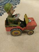 Vintage Antique 1944 Unique Art G.i. Joe Jouncing Jeep Tin Wind Up Toy Wwii Usa