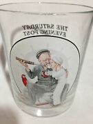 Norman Rockwell Setting Oneand039s Sight Glass Cup Saturday Evening Post Navy