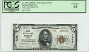 1929 5 Type 2 Banknote Dallas National Bank Dallas Or Pcgs Choice New 63 7472