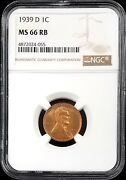 1939 D Lincoln Cent Graded Ms 66 Rb By Ngc