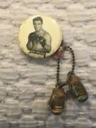 1950s Rocky Marciano Pin With Mini Gloves Ex Cond Pin Is 2 In. And 4.5in. W/gloves