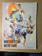 1965 Notre Dame Fighting Irish Vs Northwestern Wildcats Football Program G/vg