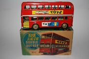1970and039s Made In China Rocket Toys Tin Friction Double Deck Bus With Original Box