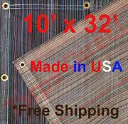 10and039 X 32and039 Vinyl Coated Mesh Tarp 10 Oz Dump Truck Fence Cover Landscape Trailer