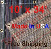 10and039 X 34and039 Vinyl Coated Mesh Tarp 10 Oz Dump Truck Fence Cover Landscape Trailer