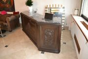 8 Foot Antique Mahogany Serving Bar And Back Bar Cabinets And Marble Top