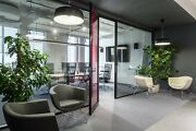 Cgp Office Partition System Glass Aluminum Wall 9and039 X 9and039 W/door Black Color