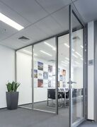Cgp Office Partition System Glass Aluminum Wall 12and039x9and039 W/door Clear Anodized