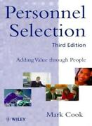Personnel Selection Adding Value Through People By Mark Cook