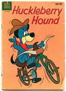 Huckleberry Hound 5 1960- Dell Comics- Bicycle Cover Reading Copy