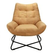 32 W Lounge Chair Soft Top Grain Leather Contemporary Slender Iron Base