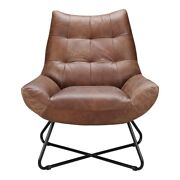 32 W Lounge Chair Cappuccino Top Grain Leather Slender Matte Iron Base
