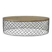 48 W Ani Coffee Table Powder Coated Iron Wire Base Hand Finished Solid Oak Wood