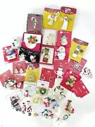 34 New/vintage Rhinestone Christmas Theme Pins Mix Lot Brooch Brooches Earrings