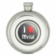 I Heart Metal Love Funny Humor Round Stainless Steel 5oz Hip Drink Flask