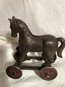 A.c. Williams Horse On Wheels Cast Iron Bank Pull Toy