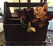 Vintage Wooden Rolling Tool And Craft Box, Farmhouse Decor Storage With Casters