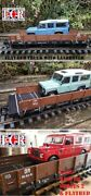 G Scale 45mm Gauge Sided Flatbed And 124 Die-cast Land-rover Railway Train As Lgb