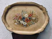 Antique Vintage Hand Painted Scandinavian Wood Tray Folk Art With Handles Signed