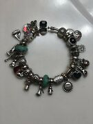 Authentic Pandora 925 Sterling Silver Bangle Bracelet With 25 Authentic Charms