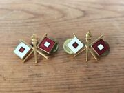 Vtg Wwii Us Military Signal Corps Insignia Torch Lapel Collar Pin Brass Enamel