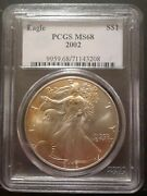 Outstanding 2002 American Eagle Silver Dollar Ms68 Pcgs Toning