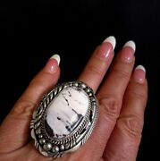 Size 8 Navajo Signed White Buffalo Turquoise And Sterling Silver Ring Elouise Kee