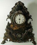 Victorian 1850and039s Mantel Clock With Painted Cast Iron Face Working 20and039and039